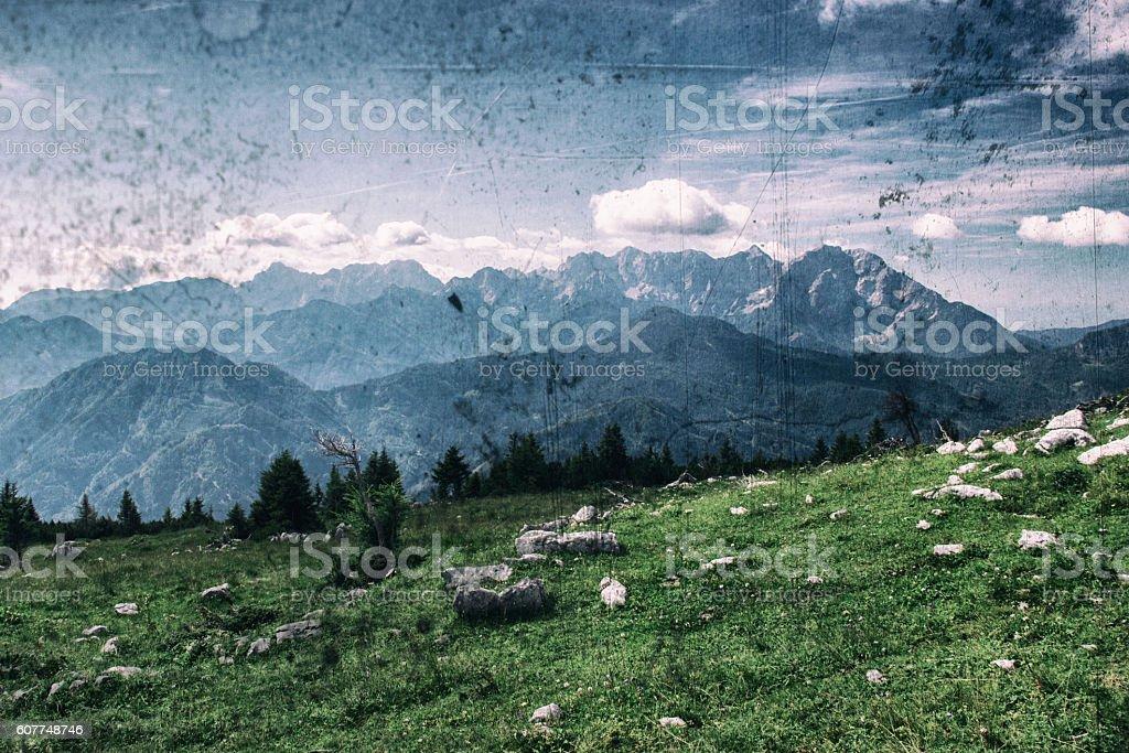 Vintage mountain view stock photo