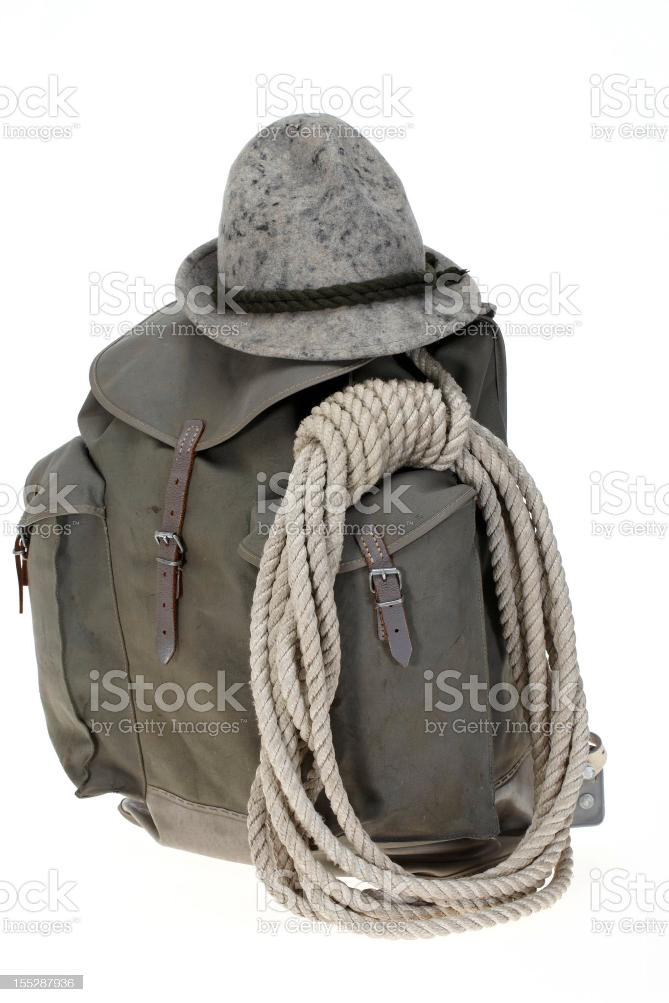 Vintage mountaineering backpack with hat royalty-free stock photo