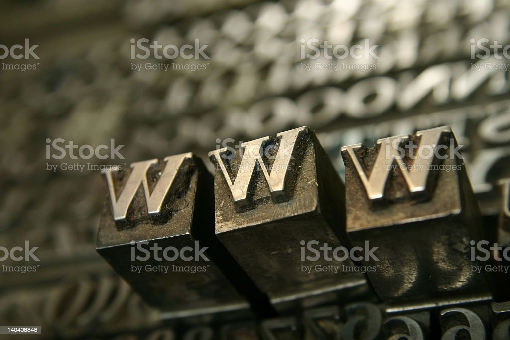 Vintage movable type letters WWW royalty-free stock photo