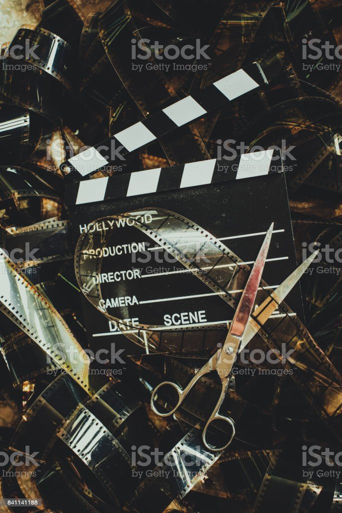 Vintage movie background concept editing and final cut stock photo