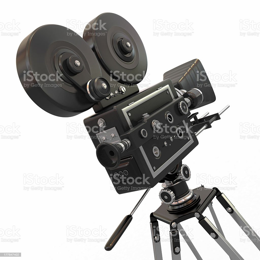 Vintage movie camera. 3d royalty-free stock photo