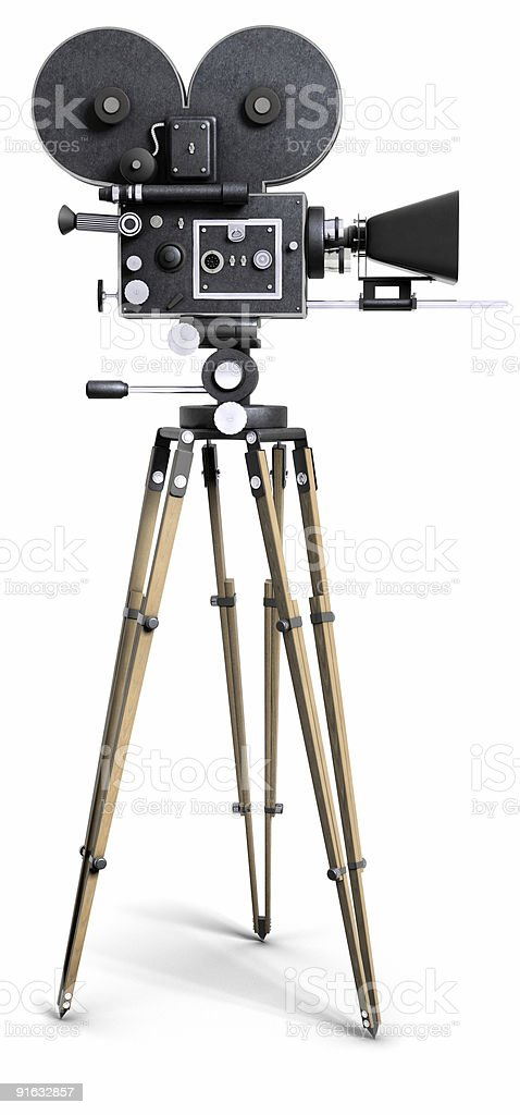 Vintage Movie Camera mounted on stand on white background stock photo