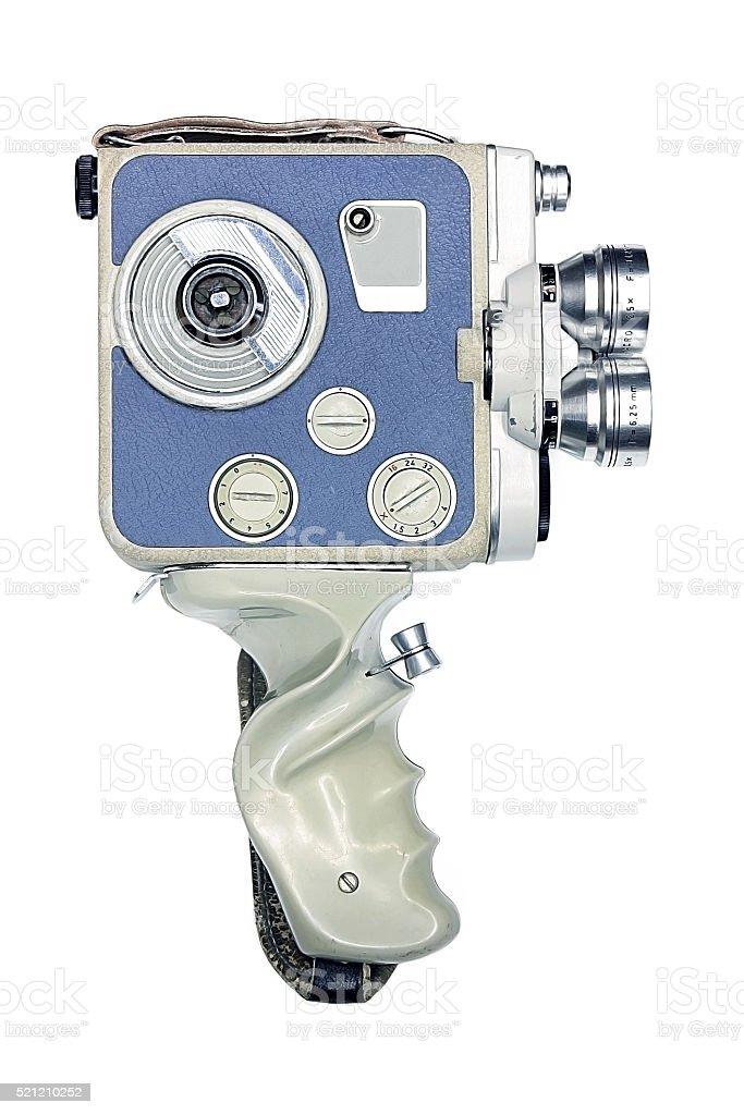Vintage movie camera with handle stock photo