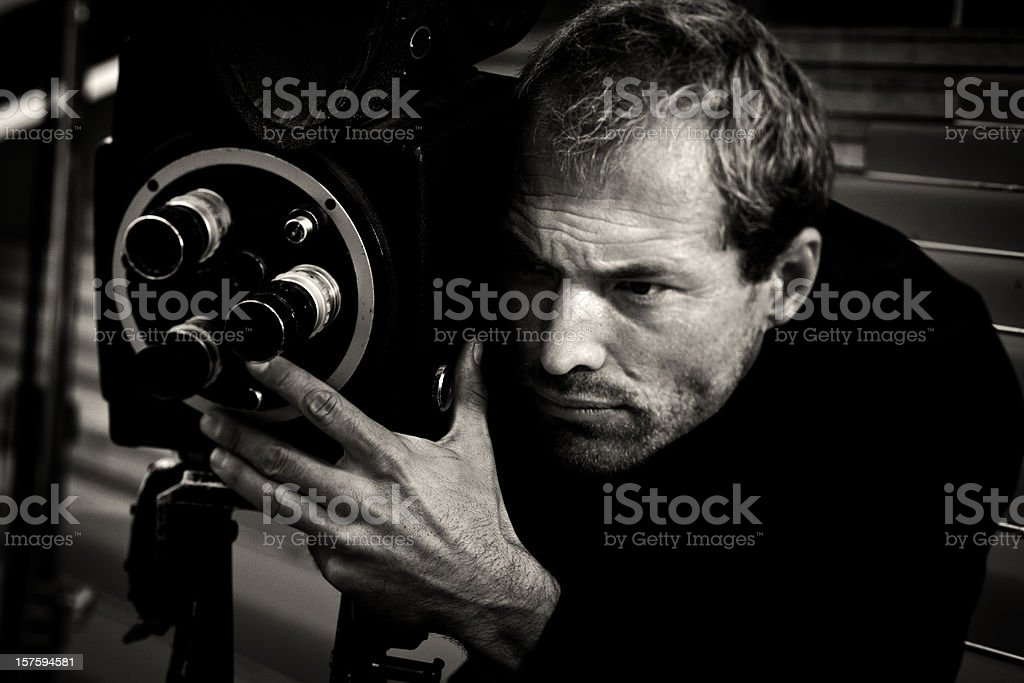 vintage movie director stock photo