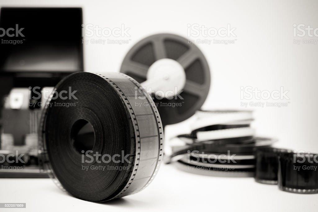 Vintage movie editing desktop in black and white stock photo