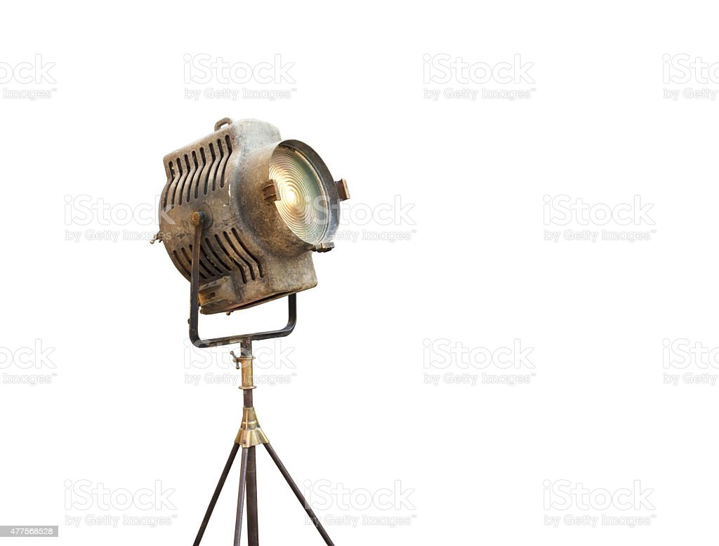 Vintage Movie Light on a stand, isolated background stock photo