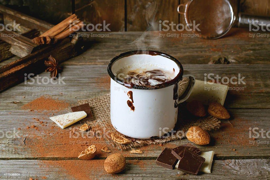Vintage mug with hot chocolate stock photo