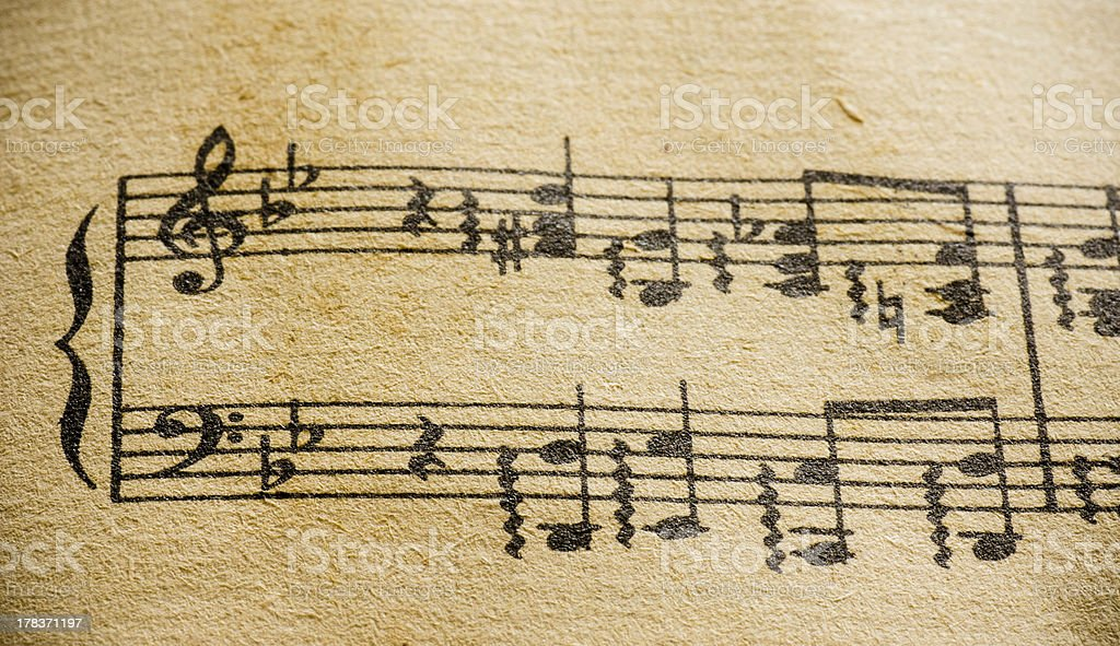 Vintage Music Sheet Treble Bass Clef Classical royalty-free stock photo