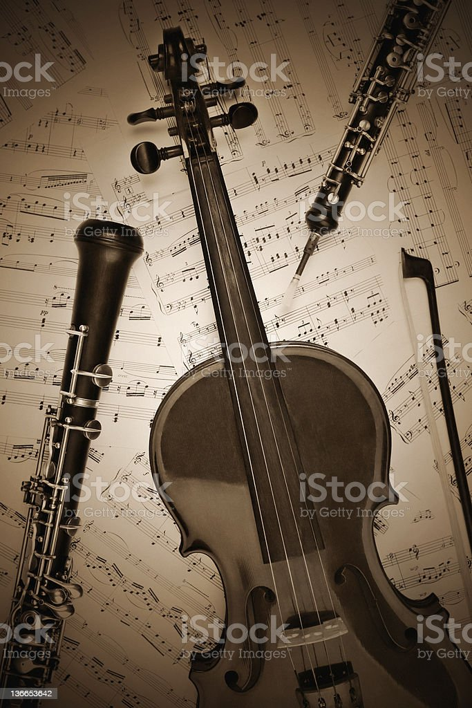 Vintage musical instruments retro. stock photo