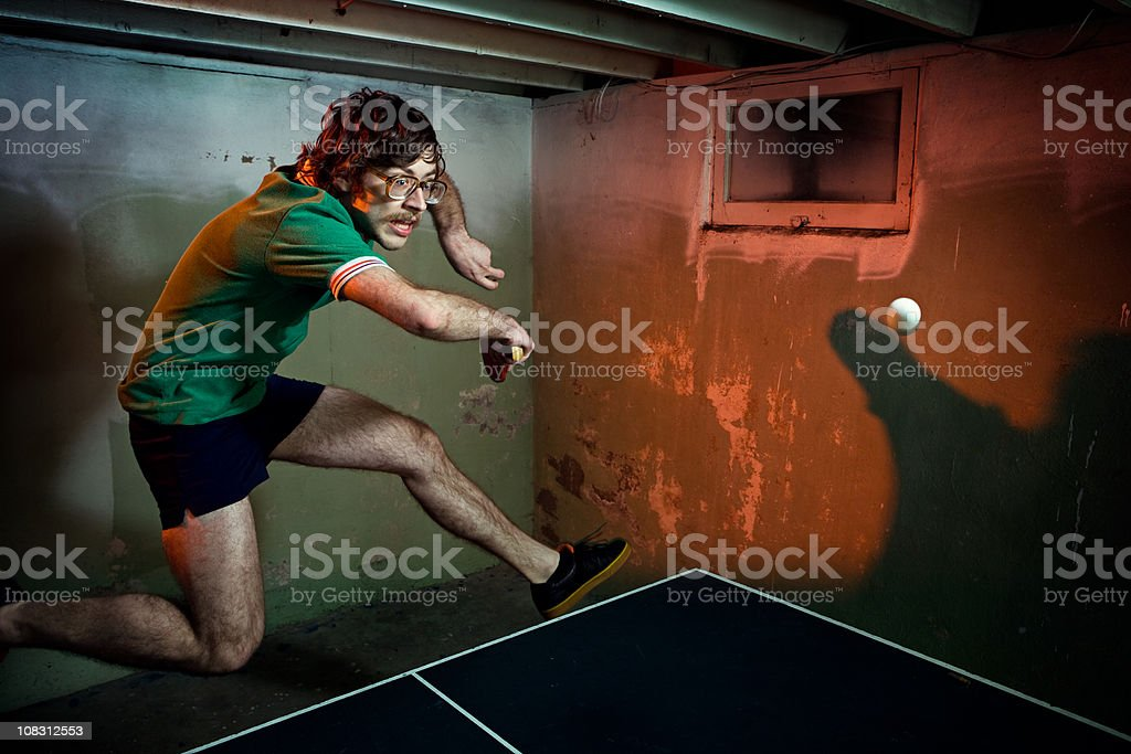 Vintage Mustache Ping Pong Player stock photo