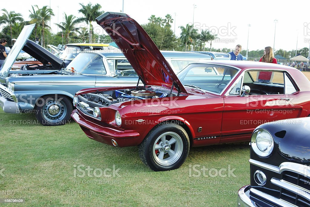 Vintage Mustang at Auto Show stock photo