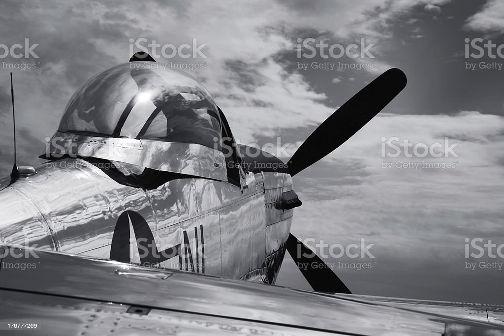 Vintage Mustang P51 airplane WWII - B&W royalty-free stock photo