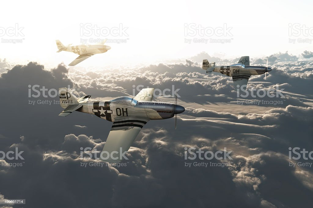 P51 vintage mustangs returning home stock photo