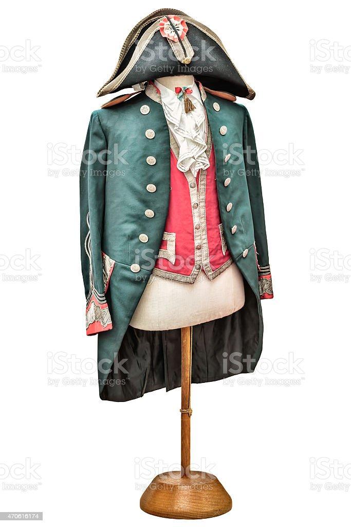 Vintage Napoleon costume isolated on white stock photo