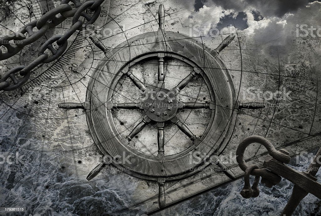Vintage navigation background illustration with steering wheel, charts, anchor, chains stock photo