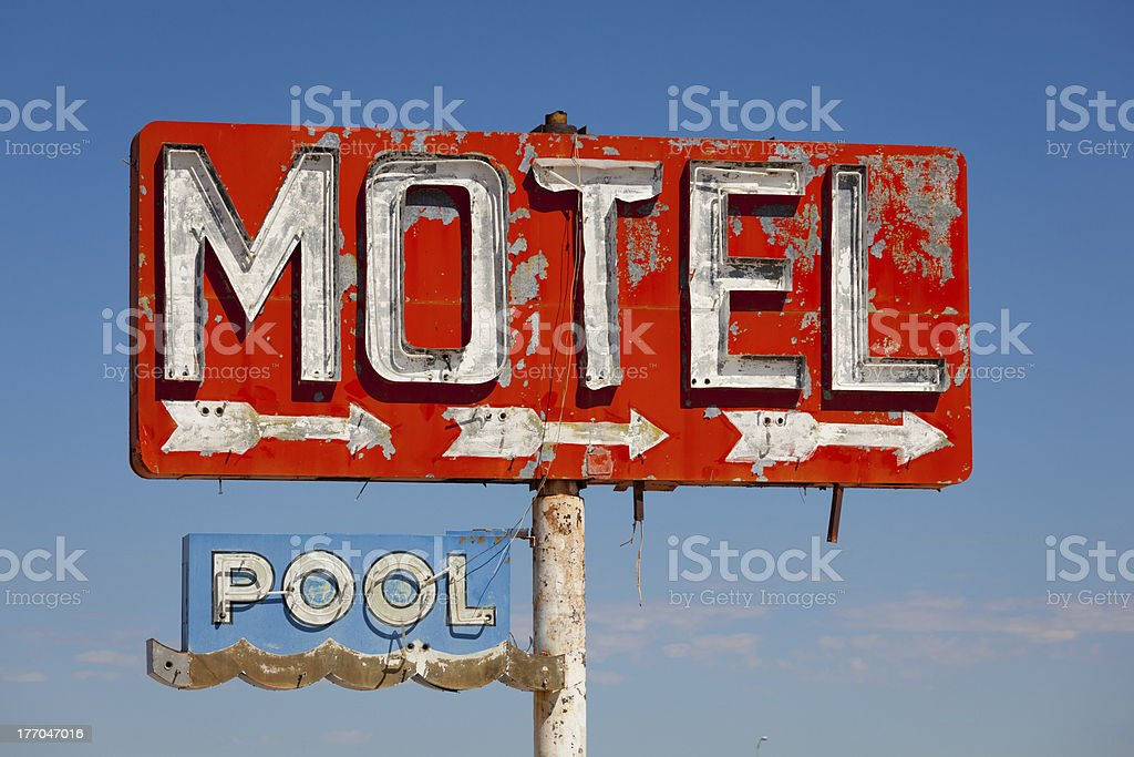 Vintage, neon motel sign pn historic route 66 stock photo