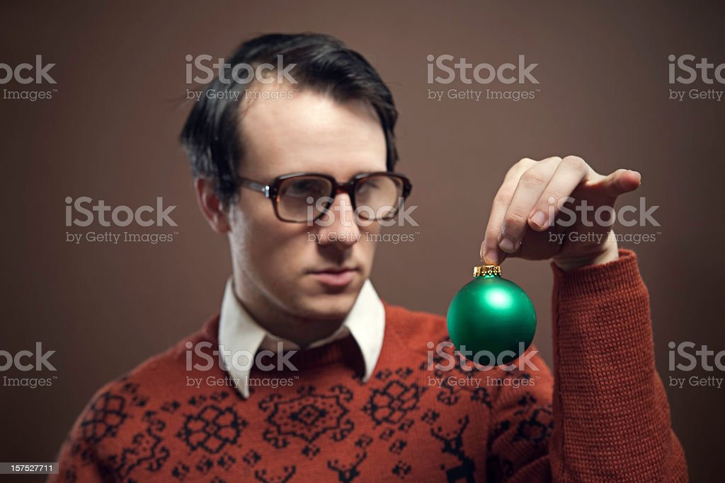 Vintage Nerd With Reindeer  Sweater stock photo