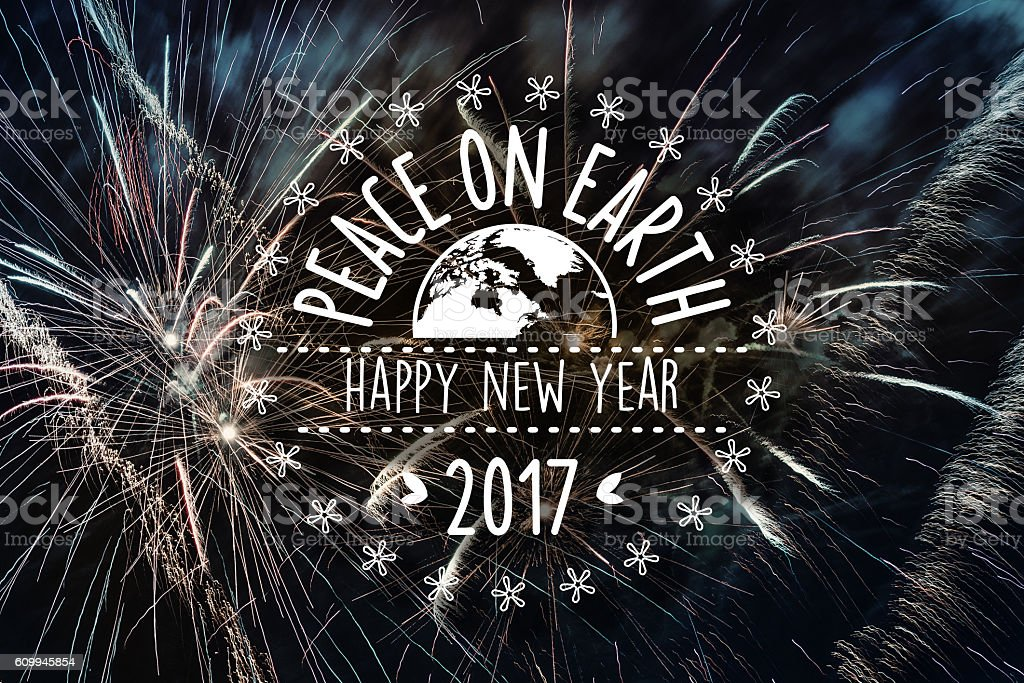 vintage new year badge with planet on vibrant fireworks background stock photo