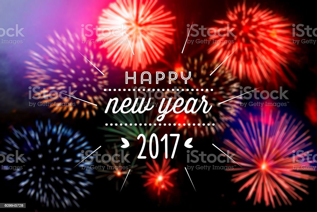 vintage new year line sign on fireworks background stock photo