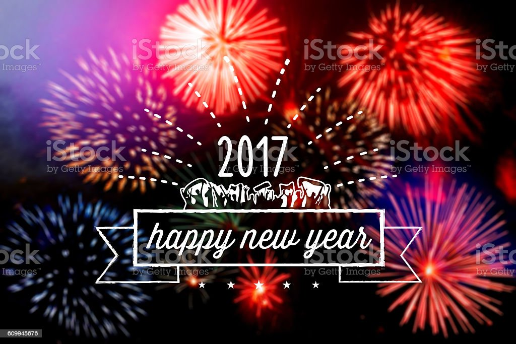 vintage new year line symbol on fireworks background stock photo
