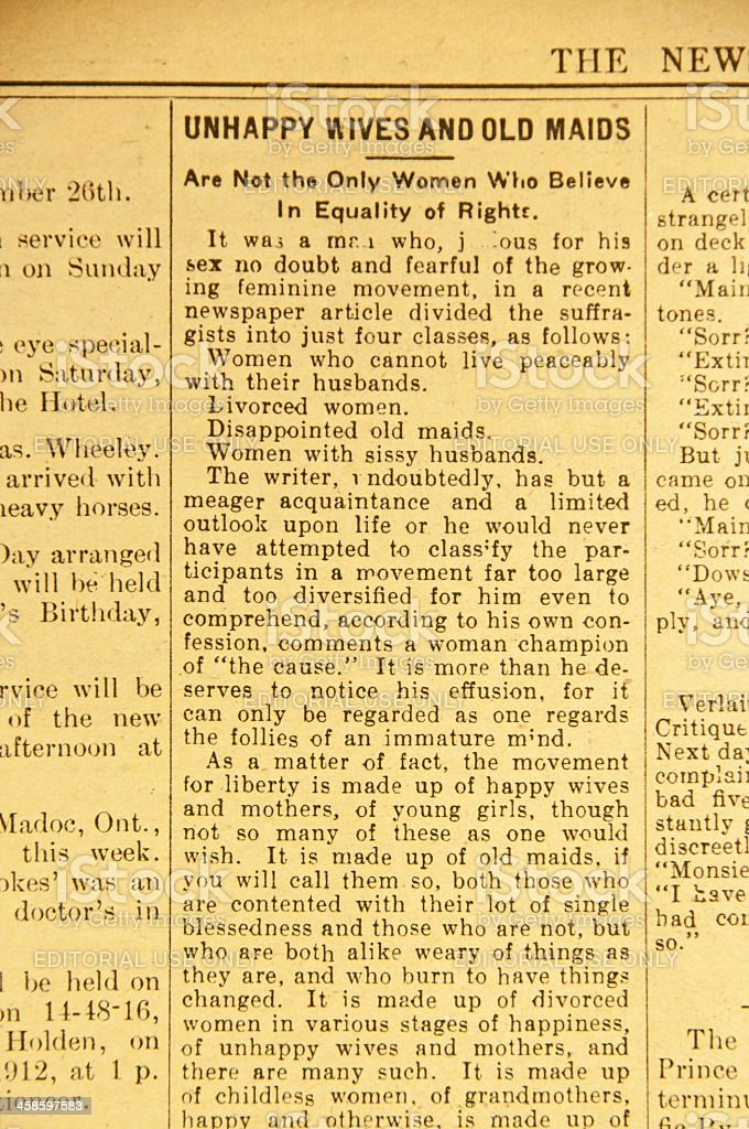 Vintage Newspaper Article ... Equal Rights stock photo