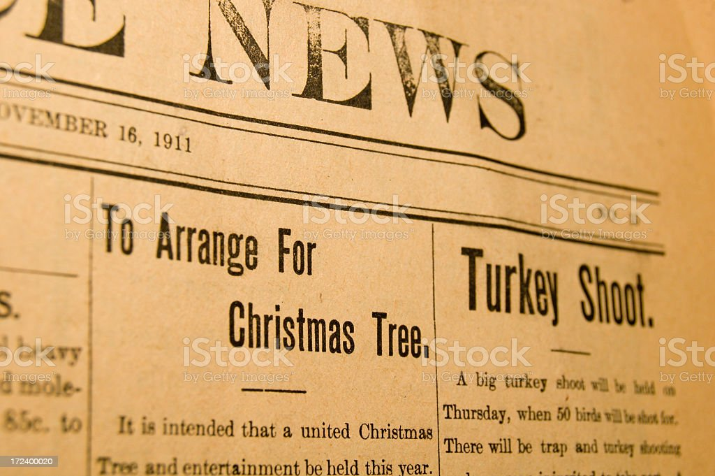 Vintage Newspaper at Christmas royalty-free stock photo