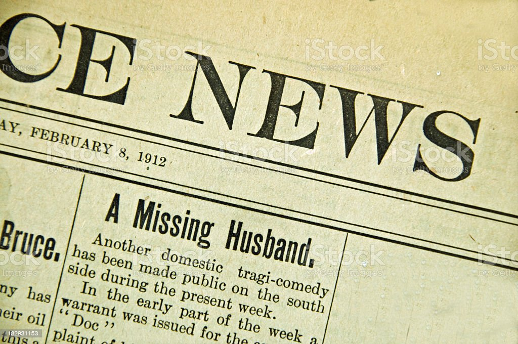 Vintage Newspaper Front Page ... 1912 stock photo