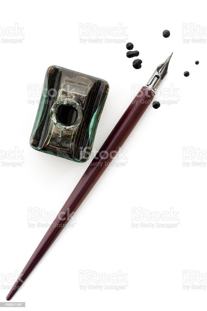 Vintage Nib Pen and Inkwell over White stock photo