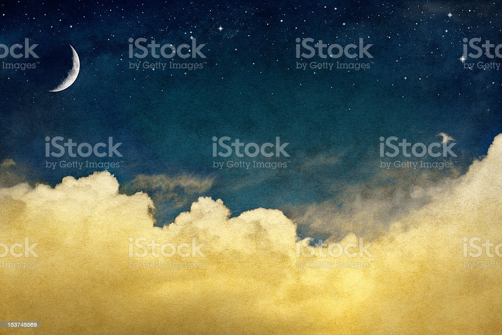 Moon and Cloudscape stock photo