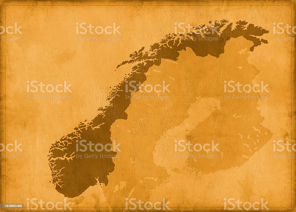 Vintage norway map royalty-free stock photo