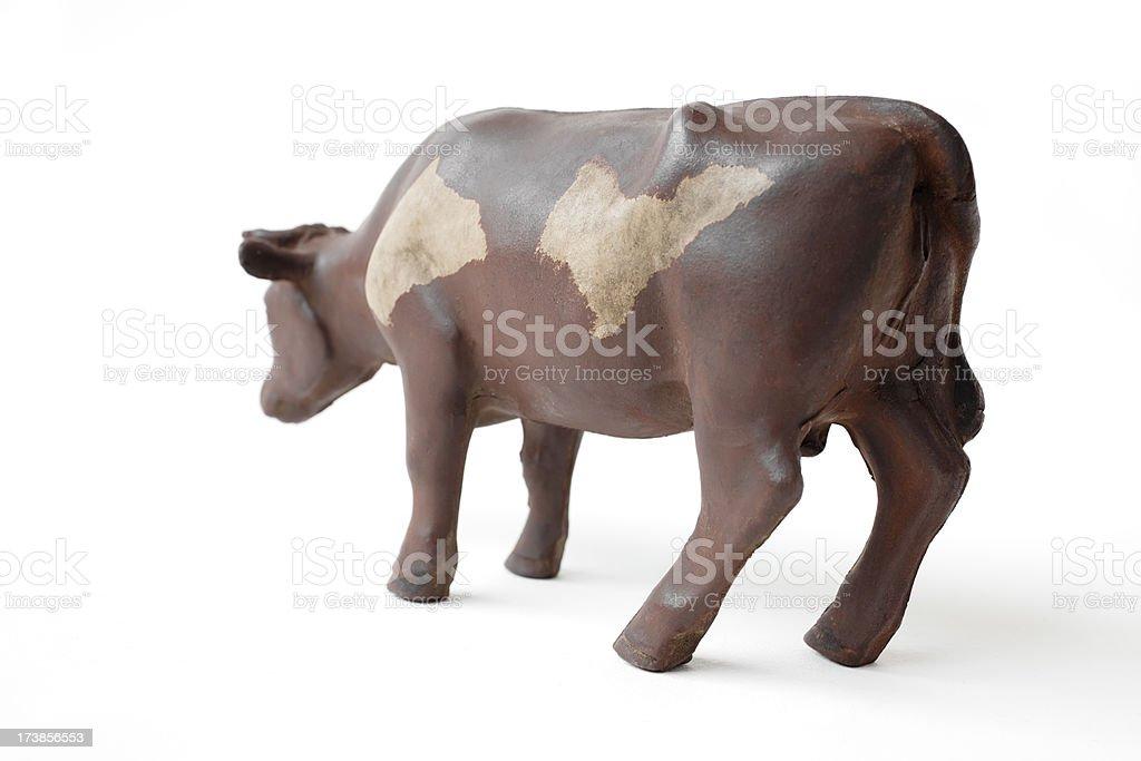 Vintage Norwegian toy rubber cow. stock photo