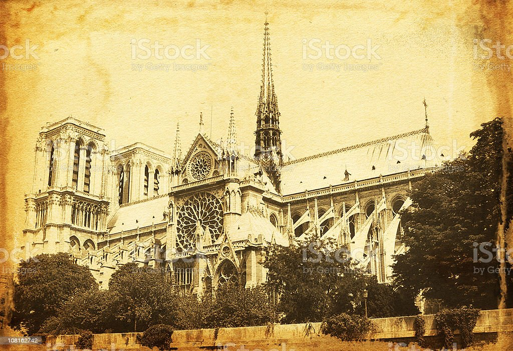 Vintage Notre Dame royalty-free stock photo