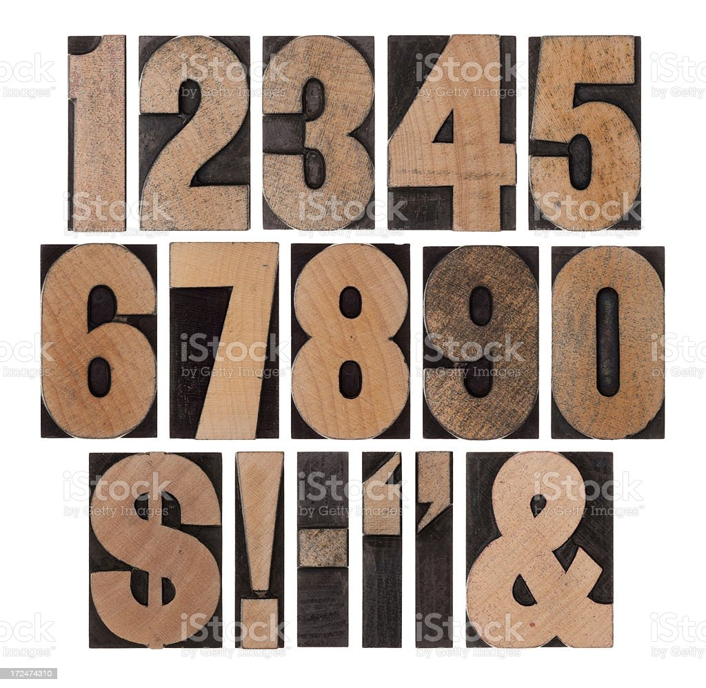Vintage numbers & Symbols stock photo