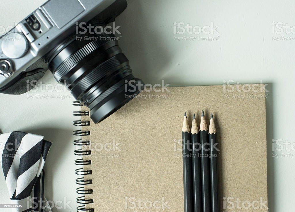 Vintage object arragement background stock photo