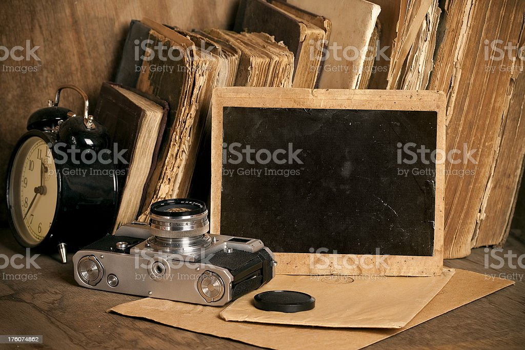 Vintage objects. Old photo frame. royalty-free stock photo