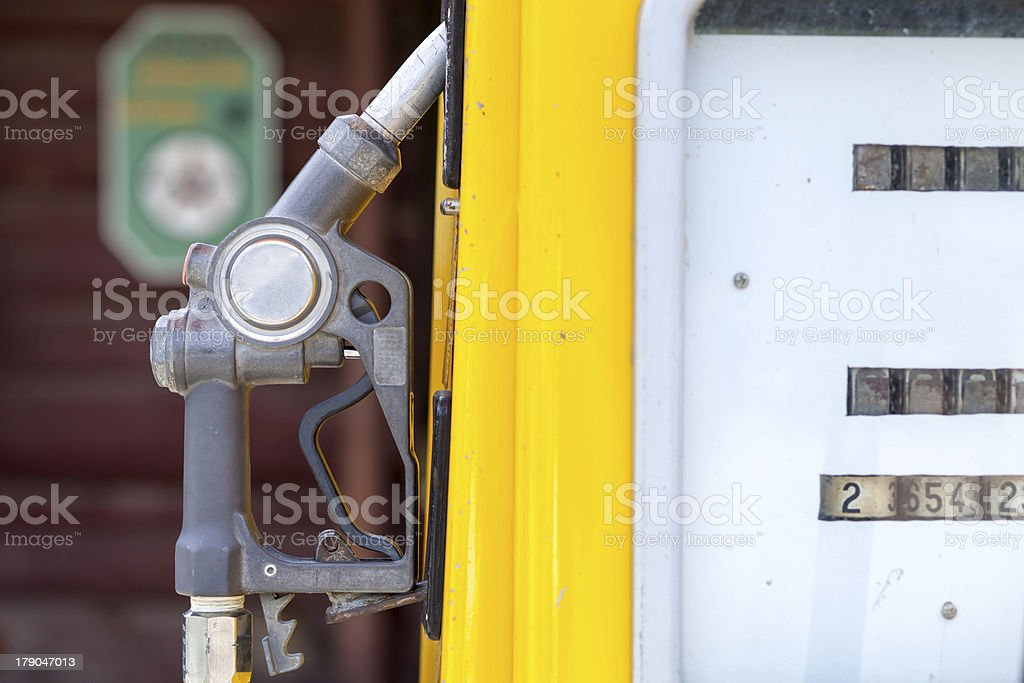 vintage of yellow oil filling tool royalty-free stock photo