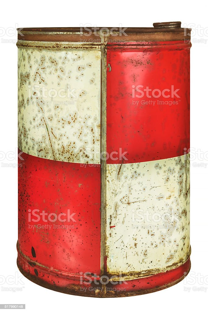 Vintage oil barrel isolated on white stock photo