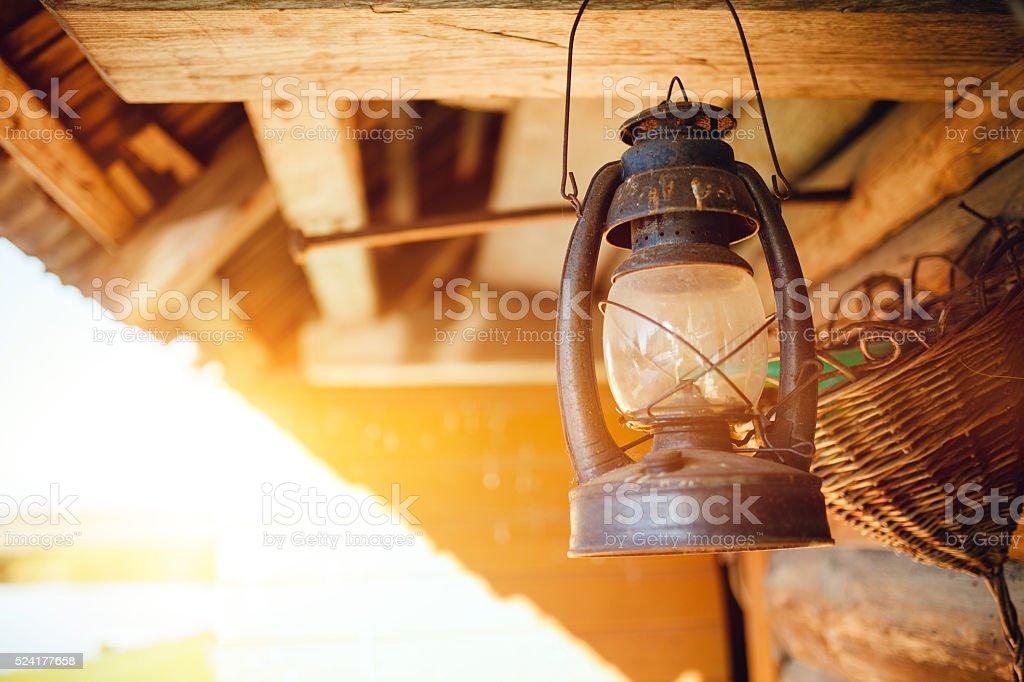 Vintage oil lamp stock photo