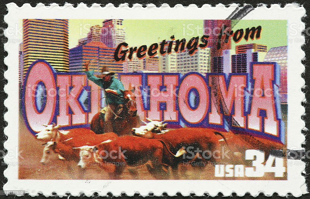 vintage Oklahoma postcard on a stamp royalty-free stock photo