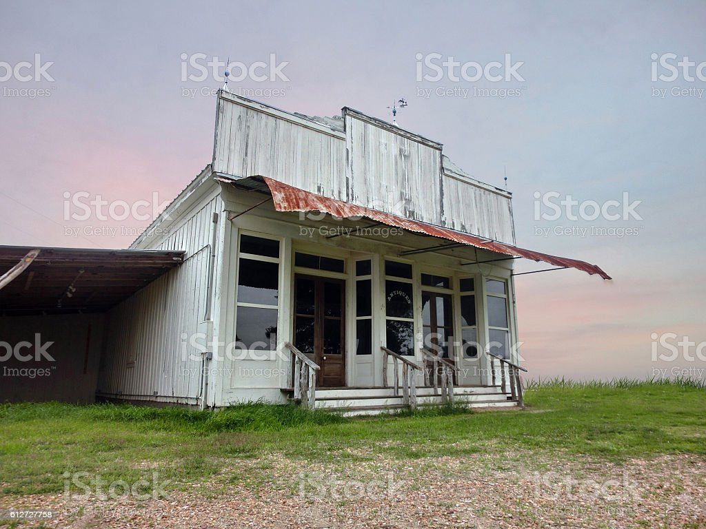 Vintage old abandoned wooden storefront in Texas stock photo