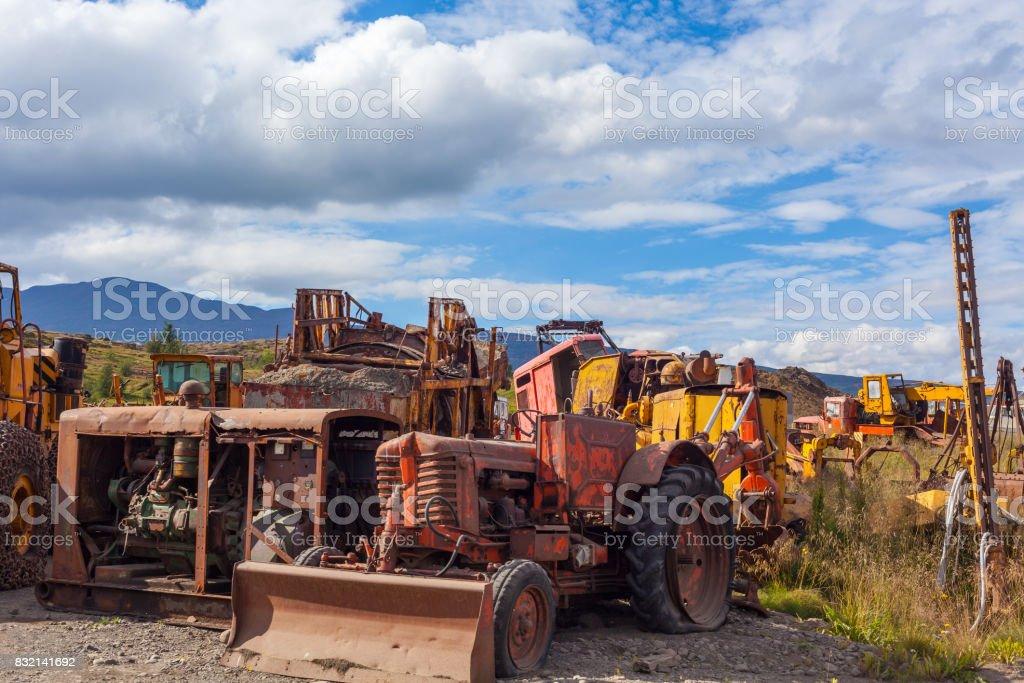 vintage old bulldozers stock photo
