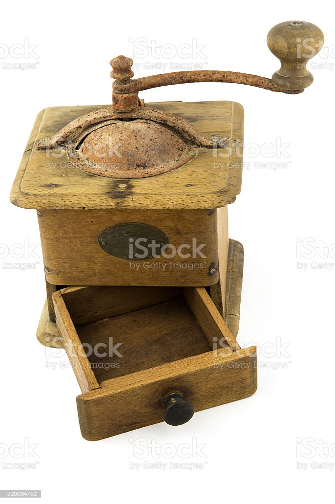 vintage - old coffee grinder  isolated stock photo