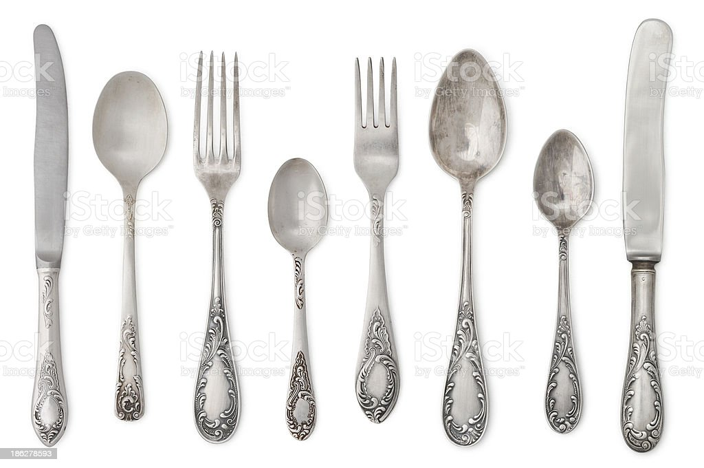 vintage old cutlery stock photo