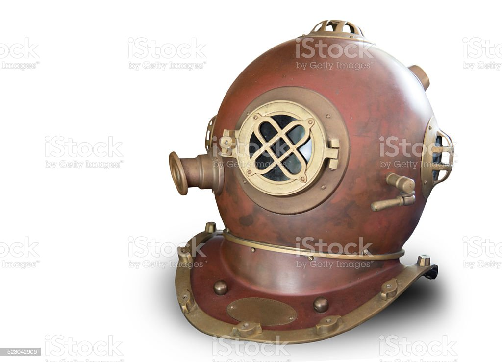 vintage old diving helmet stock photo