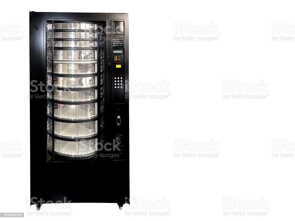 Vintage old empty soda vending machine with copy space stock photo
