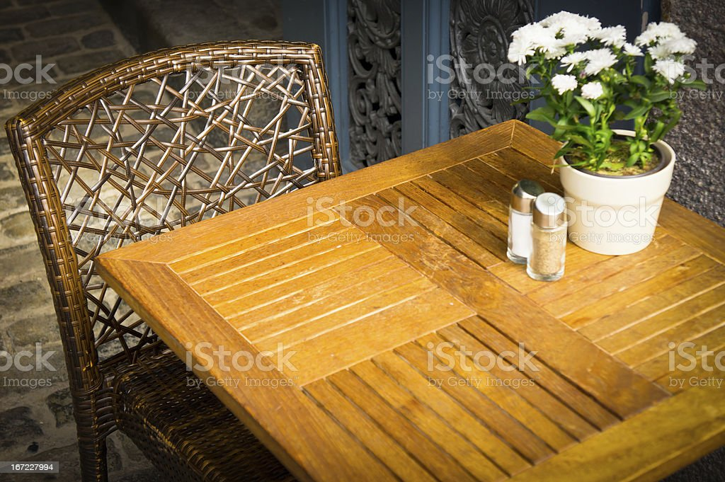 Vintage old fashioned cafe chairs with table in Copenhagen, Denm stock photo