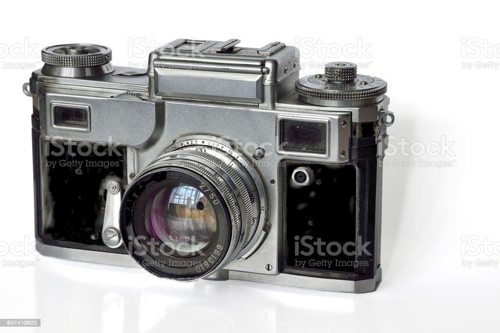 Vintage old film photocamera stock photo
