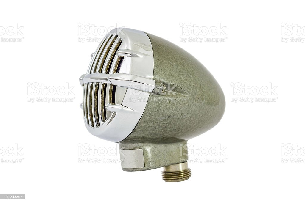 Vintage old green bullet microphone isolated on white background stock photo