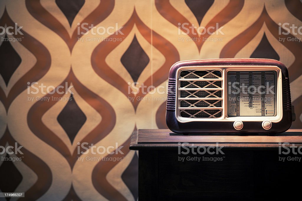 Vintage Old Radio on the Table stock photo