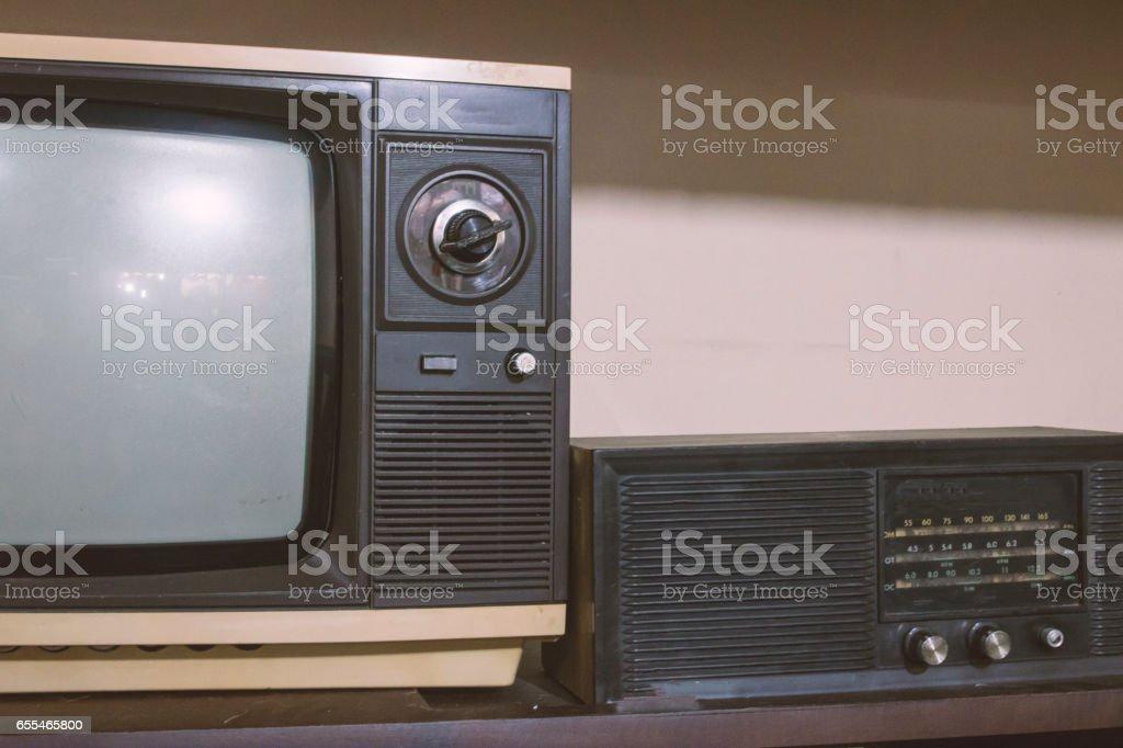 Vintage - Old retro TV and Radio stock photo